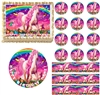Rainbow UNICORN Butterflies Flowers Edible Cake Topper Image Frosting Sheet Cake
