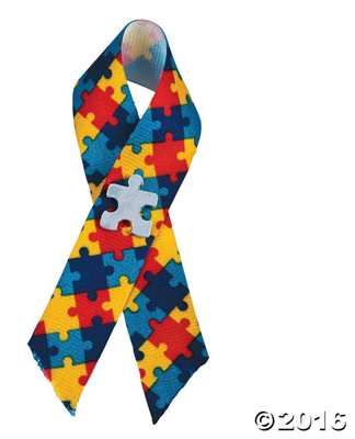 Pin Autism Awareness Puzzle Ribbons