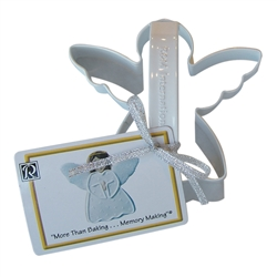 "Angel 4"" Polyresin Coated Cookie Cutter White with Handle"