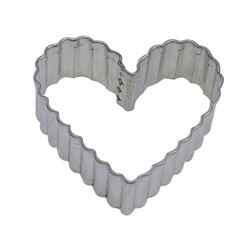 "Fluted Heart 3.5"" Tinplated Steel Cookie Cutter"