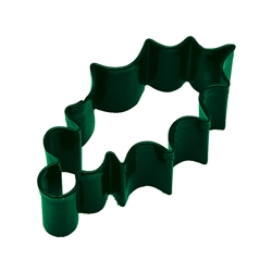 "Holly Leaf 3.25"" Polyresin Coated Cookie Cutter Green"