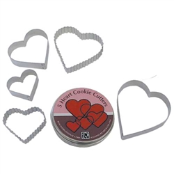 Heart Cookie Cutter 5 Piece Set In Can