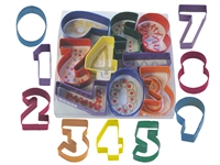 "9-Piece Numbers Cookie Cutter Set 3"" Tall, Polyresin-Coated Steel"