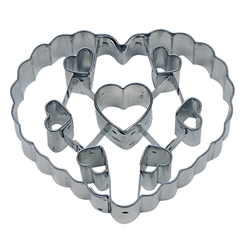 "Heart 3"" Cookie Cutter With Cut Outs"