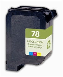 HP 78 Premium Tri-Color Cartridge Remanufactured (OEM# C6578DN) Deskjet 900/ 1200/ 3800 Series/ Officejet g/ k/ v Series/ Fax 1200 Series/ PhotoSmart 1000/ p1100/ 1100/ 1200/ 1300 Series/ Color Copier 100/ 200 Series (450 Yield)