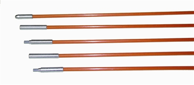Fiberfish II 3/16 Inch Diameter, Plastic Coated, 3 Foot Orange Rod Kit