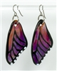 Amber Purple Butterfly Wing Earrings