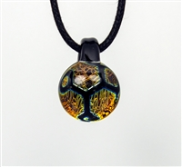 Orange Yellow Honeycomb Foil Image Pendant