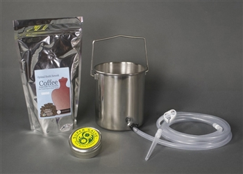 2 Quart Complete Colon Cleanse Coffee Enema Bucket Kit with Silicone Colon Tube - Chrome Oxide Coated