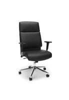 HIGH BACK LEATHER MANAGER CHAIR WITH CHROME BASE