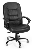 BIG AND TALL LEATHER OFFICE CHAIR WITH ARMS
