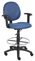 Boss Blue Fabric Drafting Stools W/Adj Arms & Footring