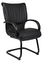 Boss Mid Back Black Leatherplus Guest Chair
