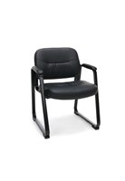 EXECUTIVE LEATHER SIDE CHAIR WITH SLED BASE
