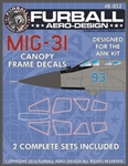 1/48 MIG-31 Canopy Seals for the AMK Kit