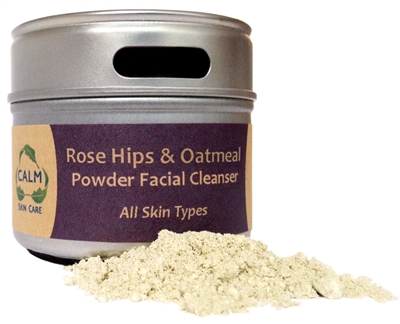 CALM Natural Eco Friendly Skin Care Rose Hips & Oatmeal Facial Powder Cleanser