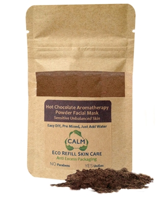 CALM Natural Eco Friendly Skin Care Eco Refill Hot Chocolate Aromatherapy Powder Facial Mask