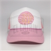 White/Pink Trucker style cap with Pink Concha