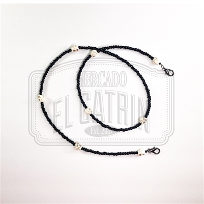 Face Mask Chain - Black/White Skull