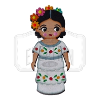 """Campechana"" Traditional Dress Magnet, Wooden"