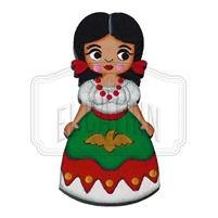 """China Poblana"" Traditional Dress Magnet, Wooden"