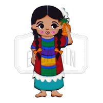 """Oaxaqueña"" Traditional Dress Magnet, Wooden"