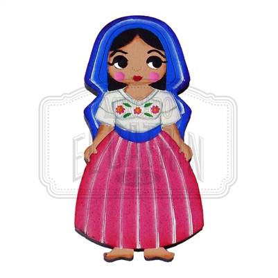 """Michoacana"" Traditional Dress Magnet, Wooden"