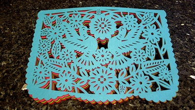 "Double-sided Felt ""Papel Picado"" Placemat Sets (Palomas Pattern)"