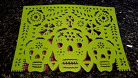 "Double-sided Felt ""Papel Picado"" Placemat Sets (3 Skulls Pattern)"