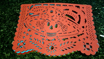 "Double-sided Felt ""Papel Picado"" Placemat Sets (Catrina Pattern)"
