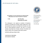 Statement of Disciplinary History from the State Bar