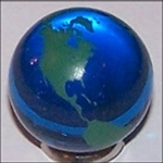 23mm Earth Transparent Blue with Green Continents Each