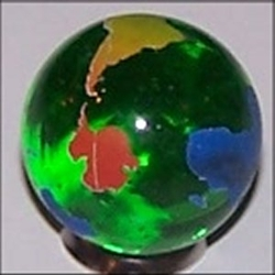 23mm Earth Transparent Green with Rainbow Continents Each