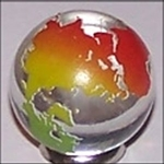 23mm Earth Transparent Clear with Rainbow Continents Each