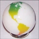 23mm Earth Solid White with Rainbow Continents Each