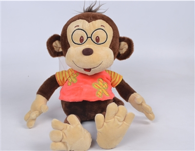 "18"" FLOPPY ORANGE OWEN MONKEY W/T-SHIRT & GLASSES (1)"