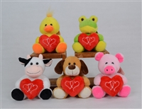 "6"" EASTON ANIMALS SET WITH HEART (5)"