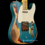 Nash Guitars T-57 Extra Heavy Distress in Turquoise over 3-Tone Sunburst