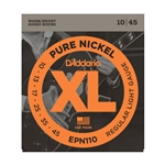 D'Addario EPN110 Pure Nickel, Regular Light, 10-45 Electric Strings