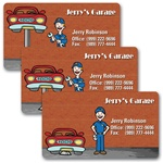Lenticular business card with mechanic fixes car by raising and lowering on lift, animation