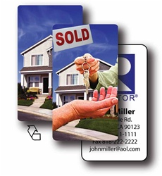 Lenticular business card with real estate realtor hands sold keys to buyer of house, flip