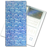 Lenticular business card file with white bubbles on blue background, depth