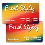 Lenticular business card with red, yellow, blue, and green, color changing