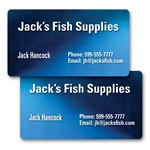 Lenticular business card with dark blue and light blue, color changing