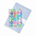 Lenticular business card holder with cute flowers and circles, flip with