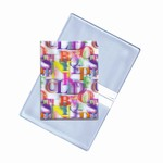 Lenticular business card holder with rainbow alphabet letters on white background, depth