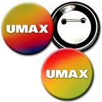 Lenticular button with red, yellow, green, and black, color changing with