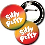 Lenticular button with rainbow, color changing with