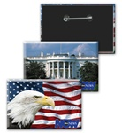 Lenticular button with American flag, bald eagle, and White House, flip