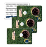 Lenticular calendar card with putter hits golf ball into hole, animation